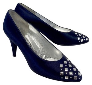 St. John Navy Silver Studded Diamond Heels Pumps