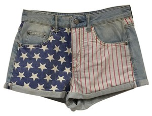 Topshop Cuffed Shorts Red, White, Blue