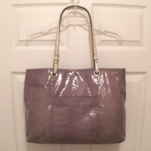 Wilsons Leather Suede Python Snakeskin Leather Tote in Gray White