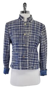 Dolce&Gabbana Blue Tweed Mandarin Collar Jacket