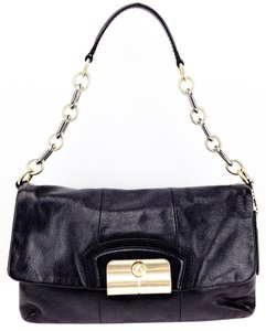 Coach Leather Chain Link Brass Flap Shoulder Bag