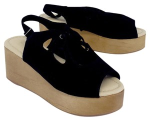 Madison Harding Black Suede Wooden Platform Platforms