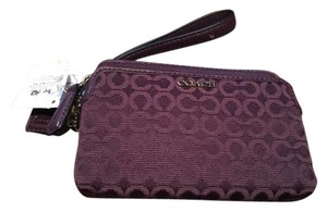 Coach New With The Tag Wristlet in black violet (dark purple)