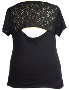 Extra Touch Plus Size Fashions Lace Peek-a-boo Back Top