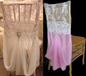 8 Lace And Chiffon Chair Covers