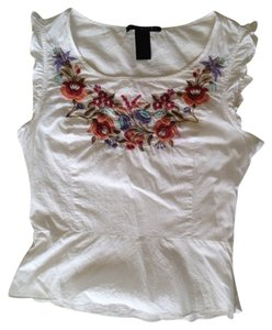 Parallel Boho Chic Floral Embroidery Top White
