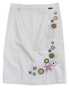 Versace White Embroidered Skirt