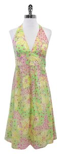 Lilly Pulitzer Green Yellow Pink Floral Halter Dress