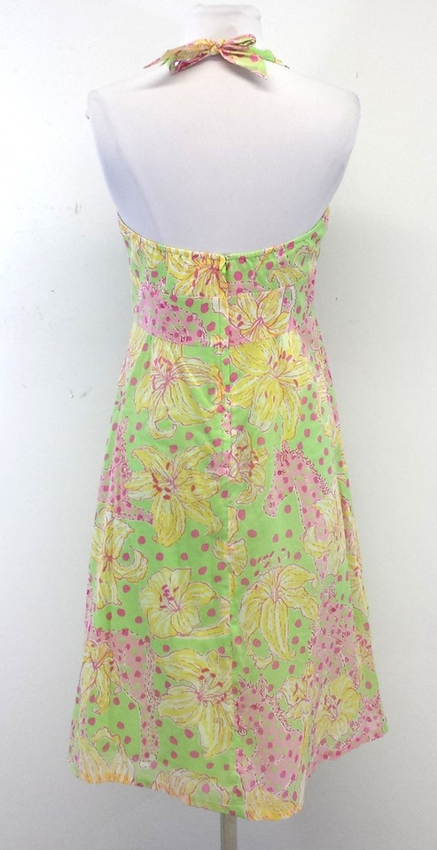 Pay Shell Credit Card >> Lilly Pulitzer Green Yellow & Pink Floral Halter Dress