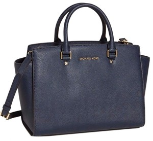 Michael Kors Saffiano Leather Satchel in Navy Blue/Gold Tone Hardware
