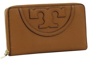 Tory Burch All T Zip Leather Continental Wallet, Brown