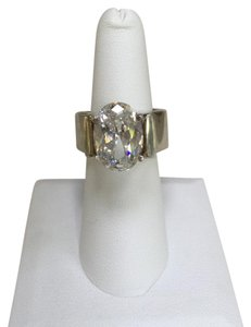 Arisa Sterling Silver Oval CZ Solitaire Ring is Artisan Designed and Made