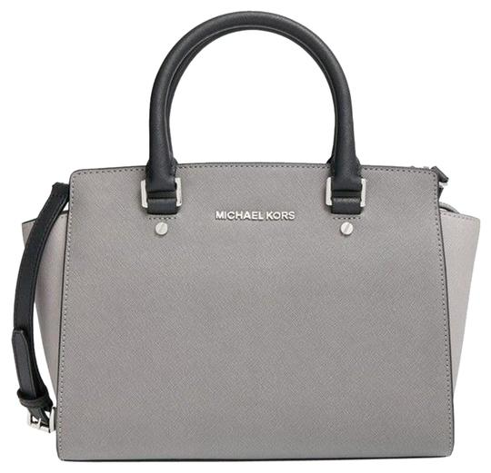 d94f858dce137 Michael Kors Selma Medium Steel Pearl Grey Black with Silver Hardware  Saffiano Leather Satchel 27% off retail