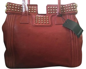 Treesje Leather Orange Gold Studded Tote in Orange/Red
