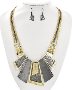 HANNA COLLECTION Two-tone Fish Hook Necklace & Earrings
