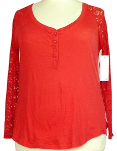 Splash Plus Size Fashions High-low Hemline Lace Sleeves Top