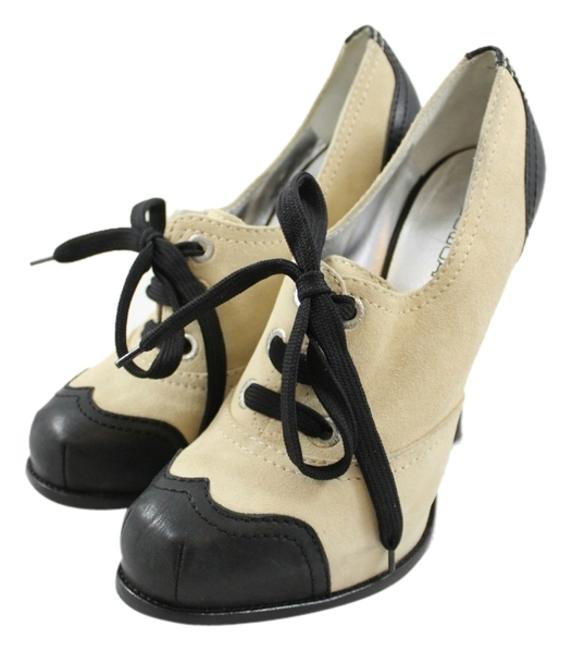 Item - Beige Black Suede Leather Closed Toes Heels. Boots/Booties Size US 9 Regular (M, B)