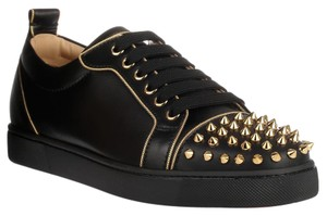 Christian Louboutin Gold Spikes BLACK Flats