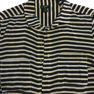 J.Crew Button Down Shirt Navy Blue and Cream