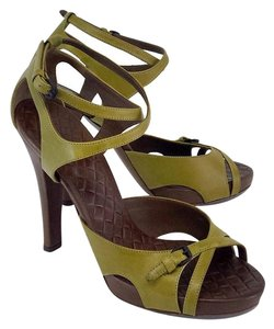 Bottega Veneta Olive Leather Sandal Heels Sandals