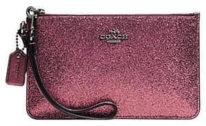 Coach Gift Box Zip Glitter Shimmery Wristlet in Burgundy