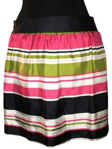MILLY Mini Skirt Green, pink, black and white