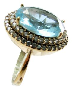 Natural London Blue Topaz Ring Surrounded by White Topaz Sterling Setting Sz 9.5
