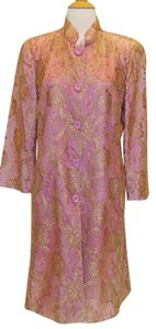 Trina Turk Lace Satin Crop Sleeve pink gold Jacket