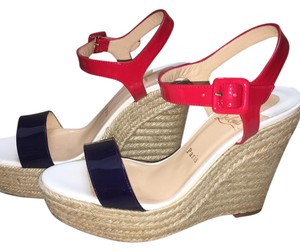 Christian Louboutin Red, white & blue Wedges