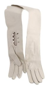 White leather high-rise gloves