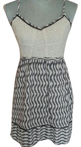Anthropologie short dress White & Gray Lace Crisscross Strap on Tradesy