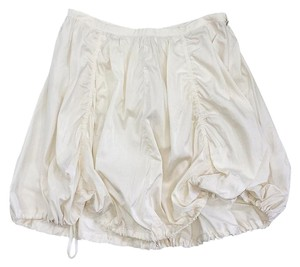 Prada Cream Drawstring Gathered Skirt
