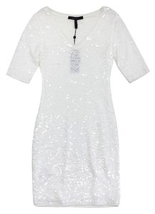 BCBGMAXAZRIA short dress White Sequin Bodycon Short Sleeve on Tradesy