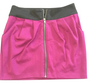 Forever 21 Zipper Mini Summer Casual Silver Hardware Mini Skirt Purple/Black