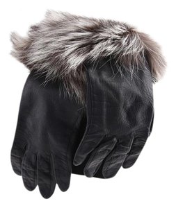 Leather Faux Fur Cuff Gloves