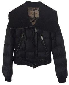 Burberry Jacket Brit Brit Cropped Shearling Down Belted Elbow Patch Funnel Collar Moto Coat