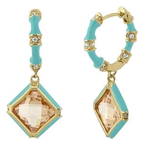 Lauren G Adams Huggie Enamel Dangle Earrings Blue Champagn Rhombus CZ & Swarovski Crystals Prince Charming