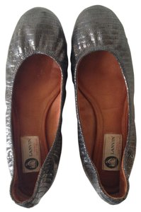Lanvin Ballerina Leather Pewter Flats