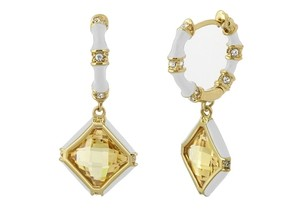 Lauren G Adams Huggie Enamel Dangle Earrings White w/ Topaz Color Rhombus CZ & Swarovski Crystals Prince Charming