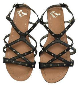 REPORT Spike Studded Flat Black Sandals