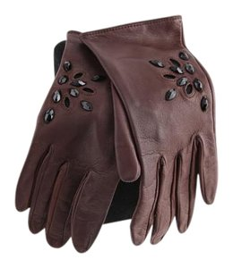 Leather Brown Studded Gloves