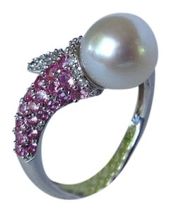 Other 925 silver pearl and pink crystal ring