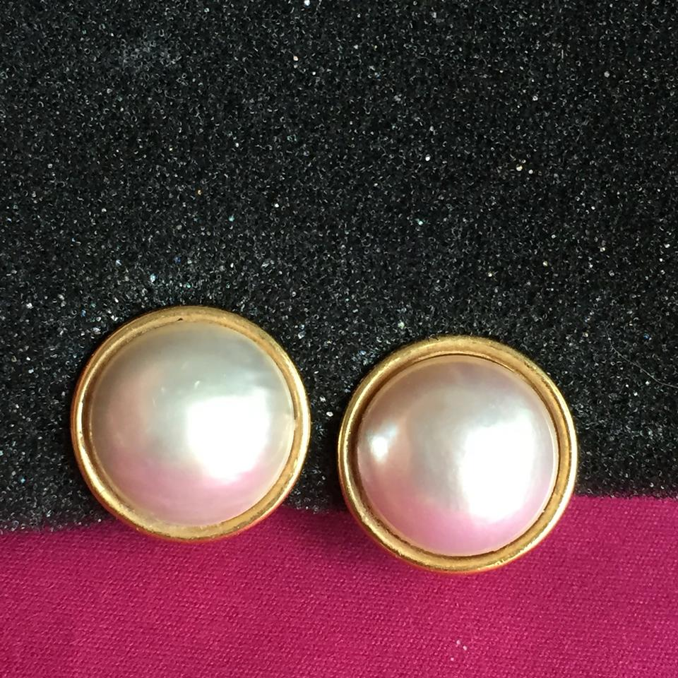 Solid 18k Yellow Gold Mabe Pearl Clip On Large 14 2 Grams 3 4 Wide Earrings Tradesy
