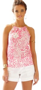 Lilly Pulitzer Resort Pink & White with Gold Chain Halter Top