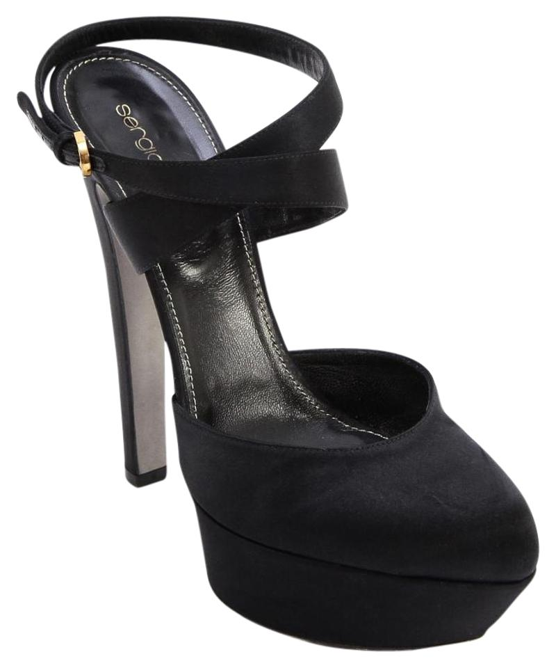 17401cfa4c41 Sergio Rossi Black Satin Pump Leather Milady 105mm Ankle 38 Platforms