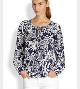 Lilly Pulitzer Top Navy & White (In The Groove Print)