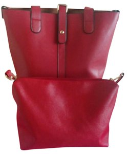 Leather Leather Tote in red