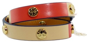Tory Burch Double Wrap Logo Stud Leather Bracelet, Multicolor