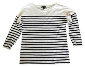 J.Crew Nautical Parisian T Shirt Ivory / Navy Stripe