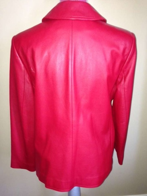 Ralph Lauren Vintage Small Double Breasted Red Leather Jacket